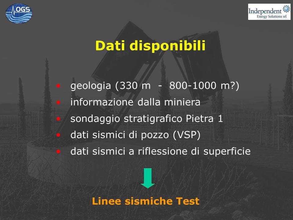 Dati disponibili geologia (330 m - 800-1000 m?) informazione dalla miniera sondaggio stratigrafico Pietra 1 dati sismici di pozzo (VSP) dati sismici a riflessione di superficie Linee sismiche Test