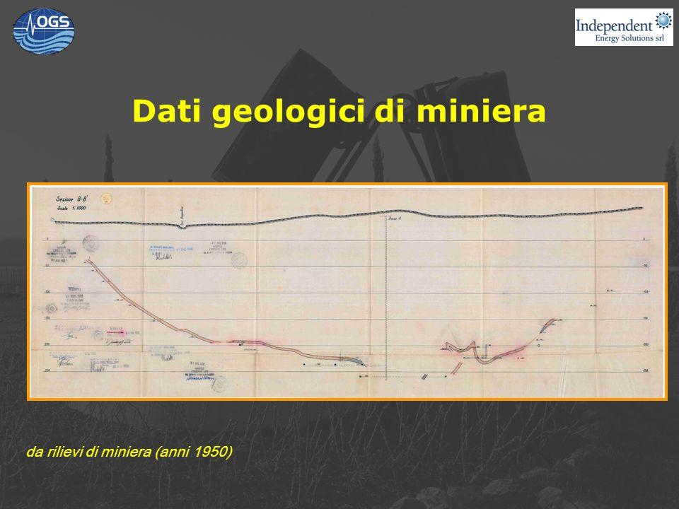 Dati geologici di miniera da rilievi di miniera (anni 1950)