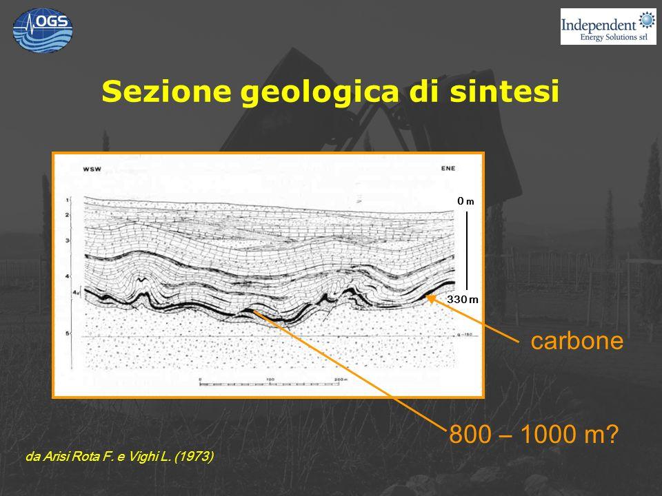 Sezione geologica di sintesi 800 – 1000 m? carbone 330 m da Arisi Rota F. e Vighi L. (1973) 0 m
