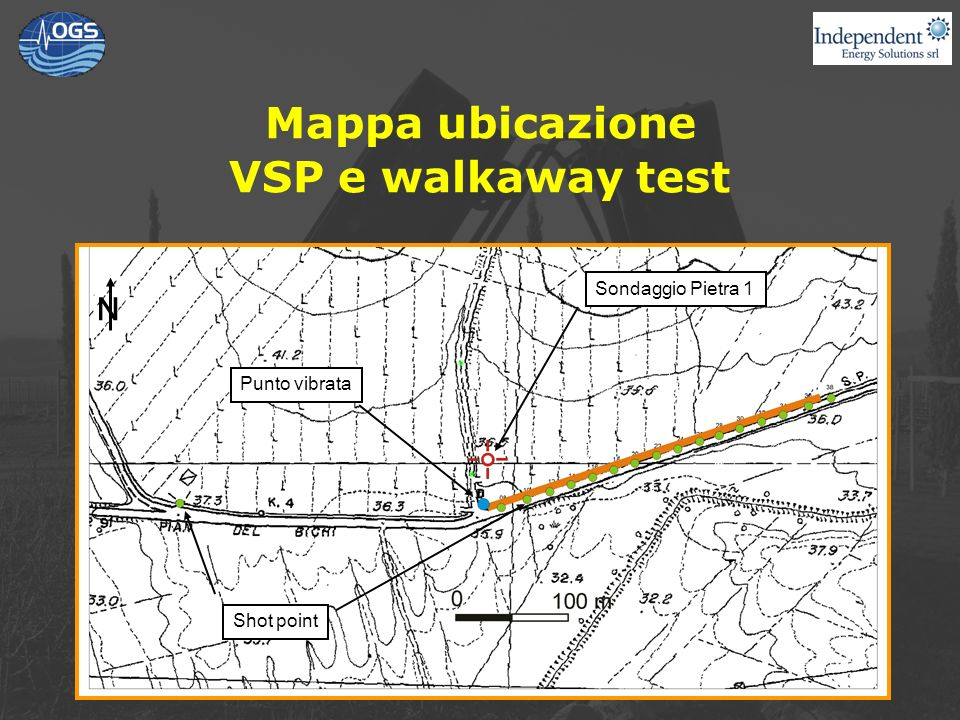 Mappa ubicazione VSP e walkaway test Sondaggio Pietra 1 Shot point N Punto vibrata