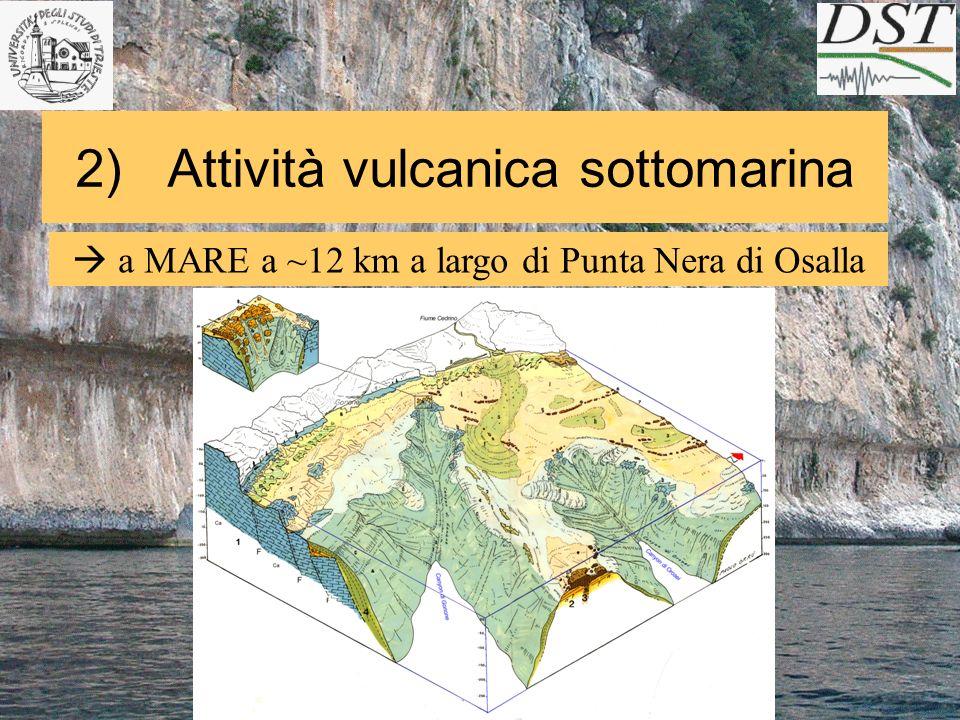 2) Attività vulcanica sottomarina a MARE a ~12 km a largo di Punta Nera di Osalla