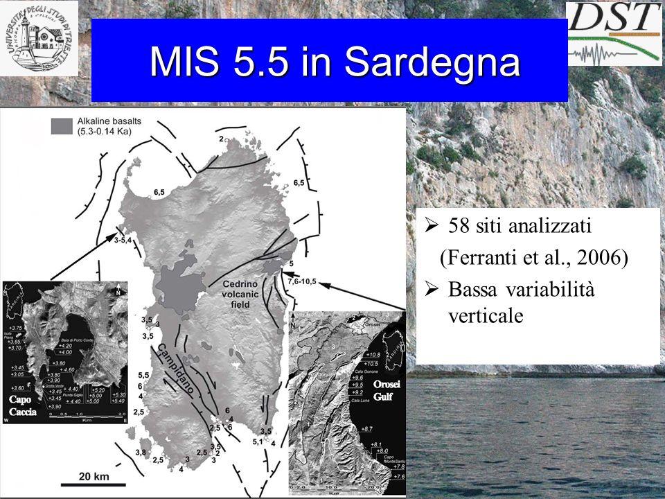 MIS 5.5 in Sardegna MIS 5.5 in Sardegna 58 siti analizzati (Ferranti et al., 2006) Bassa variabilità verticale