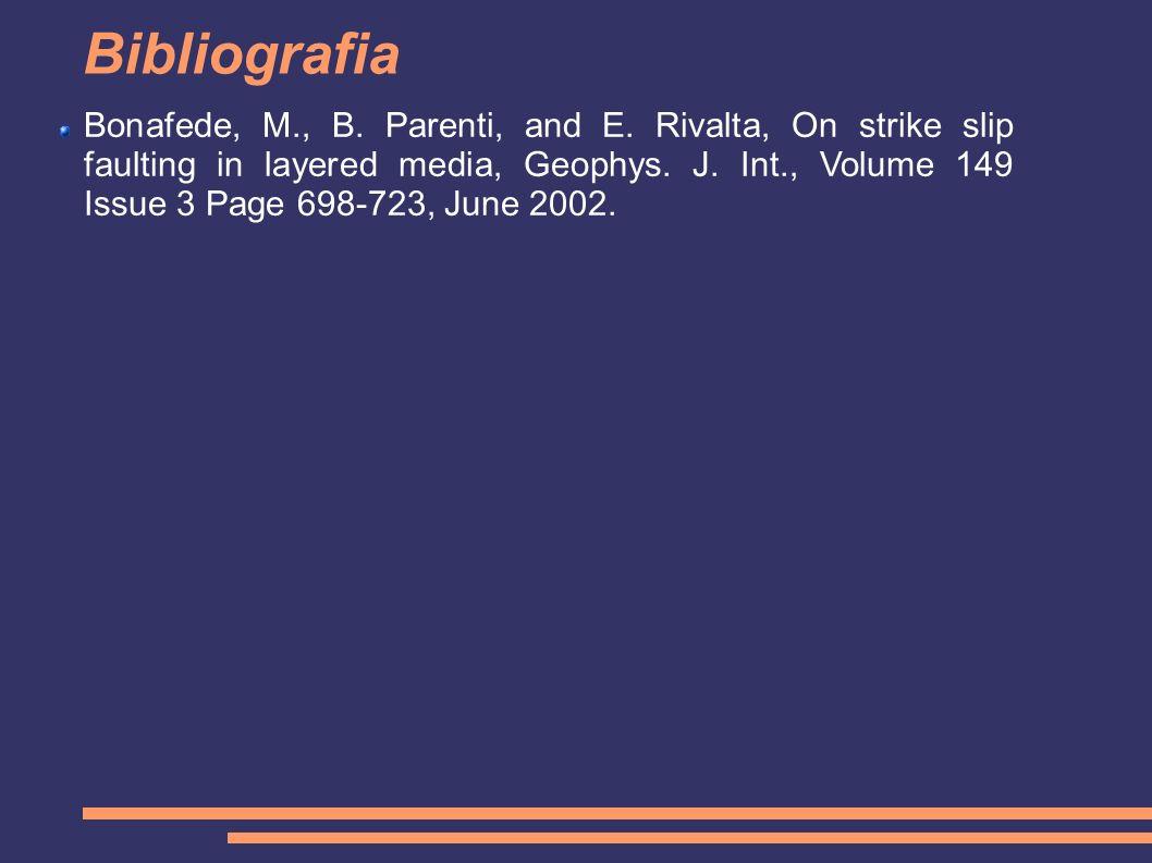 Bibliografia Bonafede, M., B. Parenti, and E. Rivalta, On strike slip faulting in layered media, Geophys. J. Int., Volume 149 Issue 3 Page 698-723, Ju