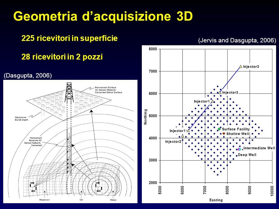 Geometria dacquisizione 3D (Dasgupta, 2006) (Jervis and Dasgupta, 2006) 225 ricevitori in superficie 28 ricevitori in 2 pozzi