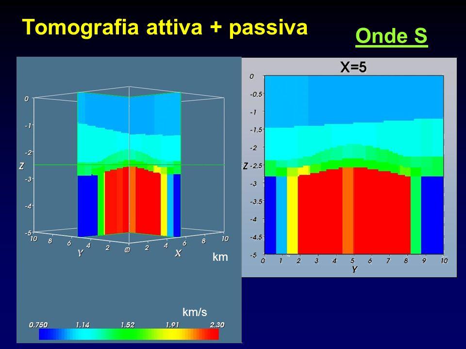 Tomografia attiva + passiva Onde S km/s km