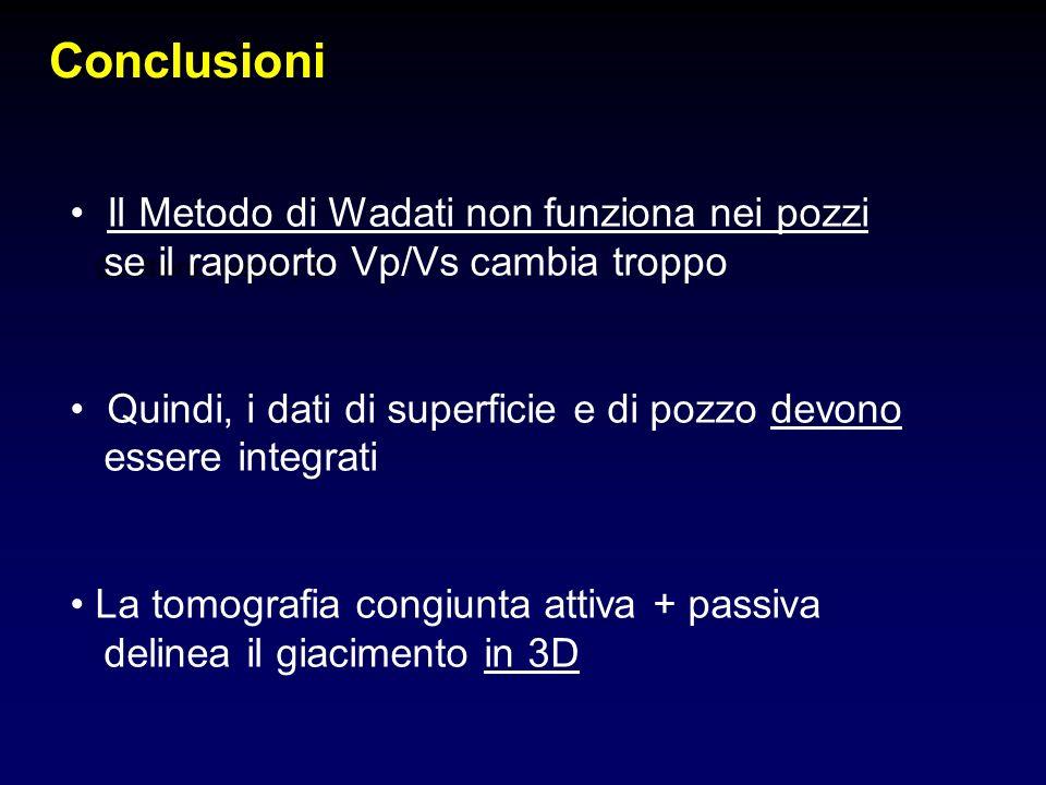Conclusioni Gualtiero (Walter) B Il Metodo di Wadati non funziona nei pozzi se il rapporto Vp/Vs cambia troppo Quindi, i dati di superficie e di pozzo