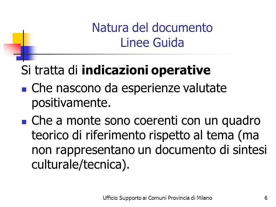 Ufficio Supporto ai Comuni Provincia di Milano6 Natura del documento Linee Guida Si tratta di indicazioni operative Che nascono da esperienze valutate positivamente.