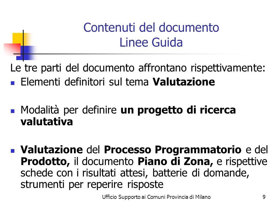 Ufficio Supporto ai Comuni Provincia di Milano9 Contenuti del documento Linee Guida Le tre parti del documento affrontano rispettivamente: Elementi de