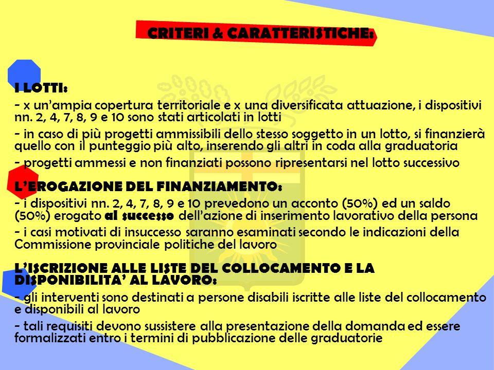 CRITERI & CARATTERISTICHE: I LOTTI: - x unampia copertura territoriale e x una diversificata attuazione, i dispositivi nn.