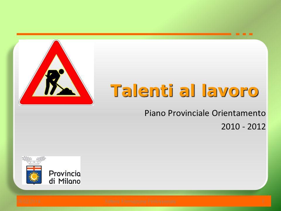 06/02/2014Settore Formazione Professionale 1 Piano Provinciale Orientamento 2010 - 2012 Talenti al lavoro