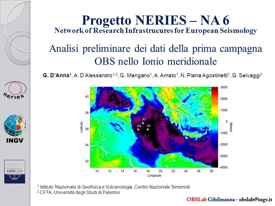 Conclusioni La prima campagna OBS nello Ionio ha permesso di raccogliere dati sismologici in continuo per oltre 9 mesi registrando oltre 450 eventi sismici Lintegrazione con i dati delle campagne in atto, lutilizzo di tecniche di analisi indipendenti e di inversioni congiunte permetterà di determinare modelli di velocità robusti e di caratterizzare meglio la sismicità ionica Lanalisi dei dati regionali e telesismici ha permesso di costruire dei modelli preliminari di velocità per le onde P ed S che mostrano una profondità della Moho a 15.8 km