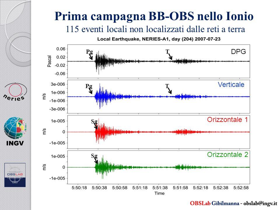 Prima campagna BB-OBS nello Ionio 115 eventi locali non localizzati dalle reti a terra Pg Sg T T DPG Orizzontale 2 Verticale Orizzontale 1