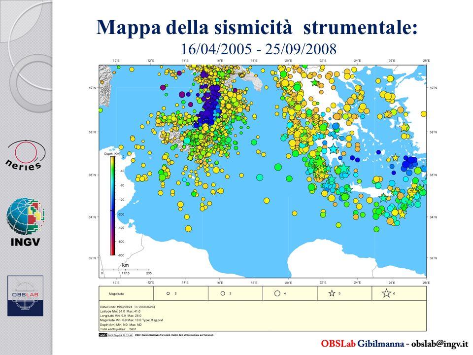 Mappa della sismicità strumentale: 16/04/2005 - 25/09/2008