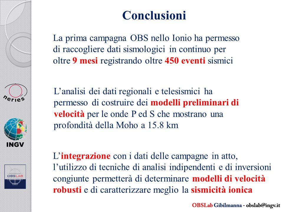 Conclusioni La prima campagna OBS nello Ionio ha permesso di raccogliere dati sismologici in continuo per oltre 9 mesi registrando oltre 450 eventi si