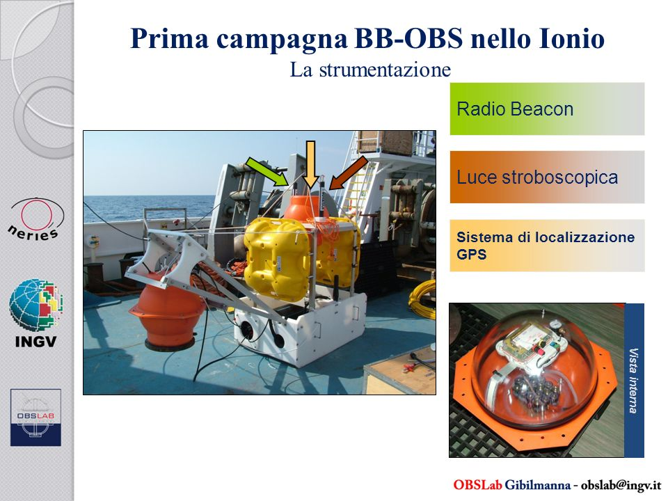 Prima campagna BB-OBS nello Ionio La strumentazione Radio Beacon Luce stroboscopica Sistema di localizzazione GPS Vista interna