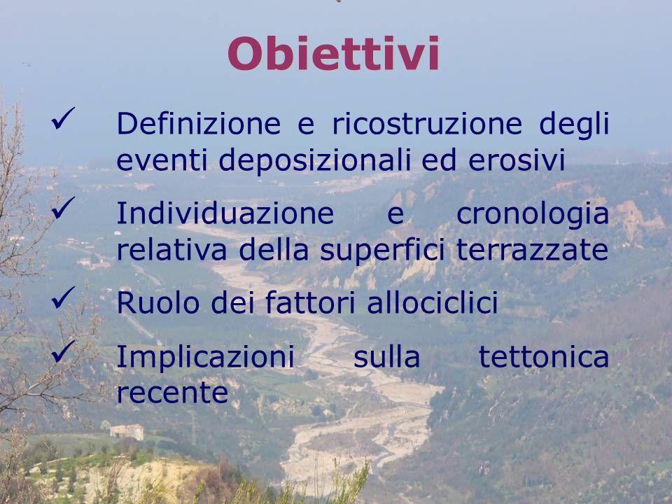 Obiettivi Definizione e ricostruzione degli eventi deposizionali ed erosivi Individuazione e cronologia relativa della superfici terrazzate Ruolo dei