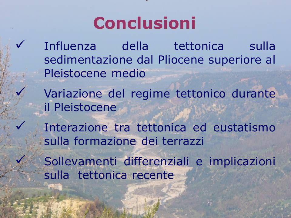 Conclusioni Influenza della tettonica sulla sedimentazione dal Pliocene superiore al Pleistocene medio Variazione del regime tettonico durante il Plei