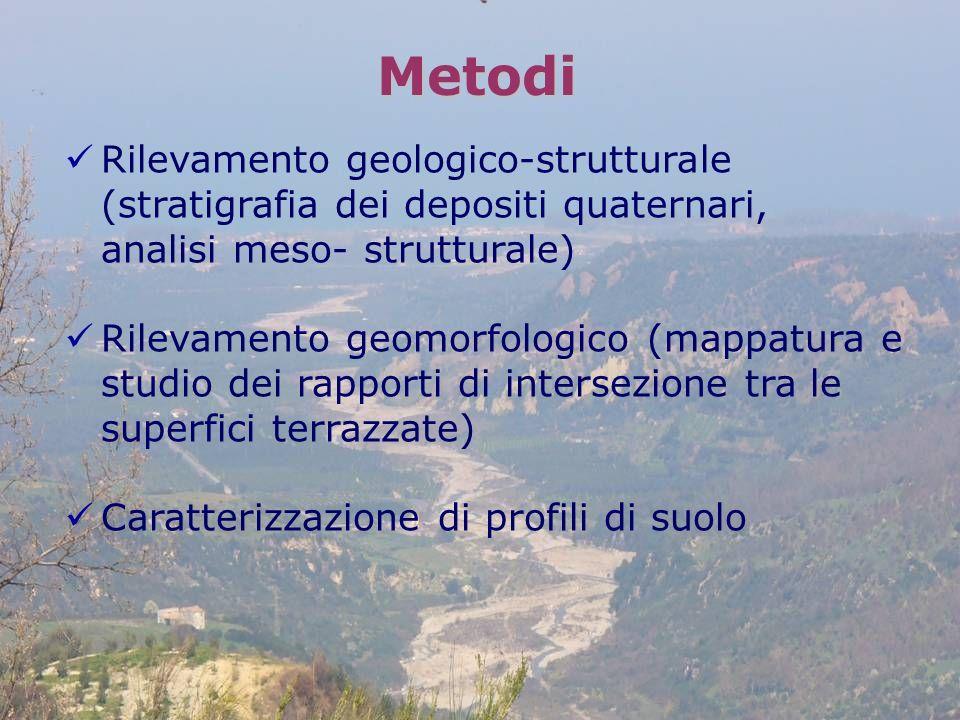 Rilevamento geologico-strutturale (stratigrafia dei depositi quaternari, analisi meso- strutturale) Rilevamento geomorfologico (mappatura e studio dei