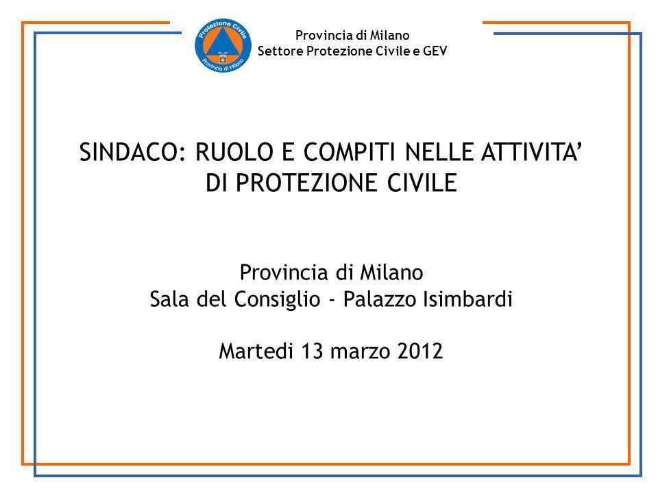 Provincia di Milano Settore Protezione Civile e GEV SINDACO: RUOLO E COMPITI NELLE ATTIVITA DI PROTEZIONE CIVILE Provincia di Milano Sala del Consigli