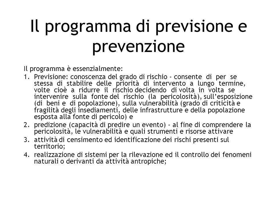 Il programma di previsione e prevenzione Il programma è essenzialmente: 1.Previsione: conoscenza del grado di rischio - consente di per se stessa di s