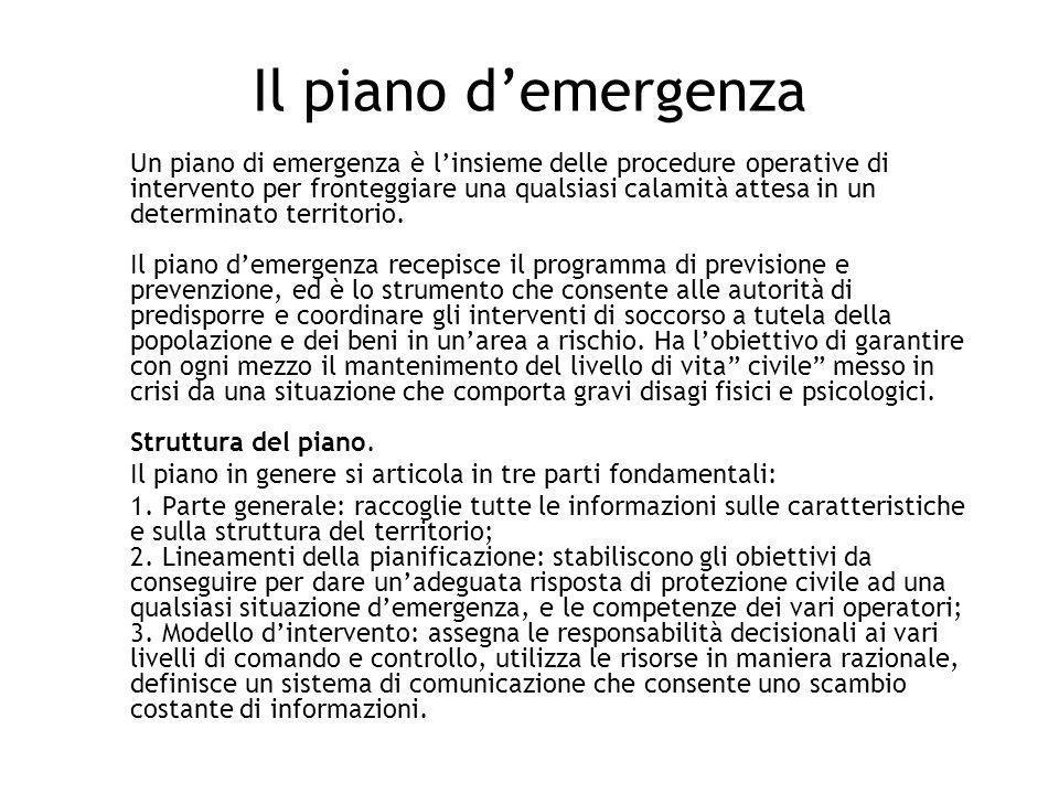Il piano demergenza Un piano di emergenza è linsieme delle procedure operative di intervento per fronteggiare una qualsiasi calamità attesa in un dete