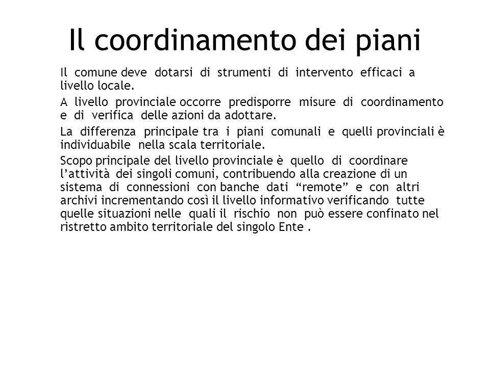 Il coordinamento dei piani Il comune deve dotarsi di strumenti di intervento efficaci a livello locale. A livello provinciale occorre predisporre misu