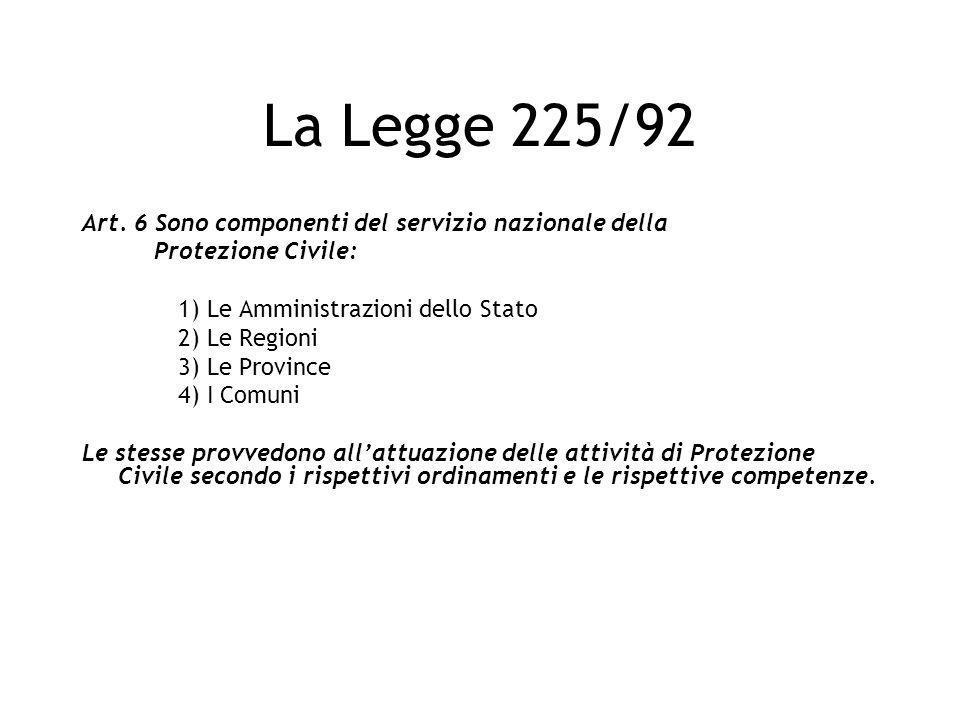 La Legge 225/92 Art. 6 Sono componenti del servizio nazionale della Protezione Civile: 1) Le Amministrazioni dello Stato 2) Le Regioni 3) Le Province