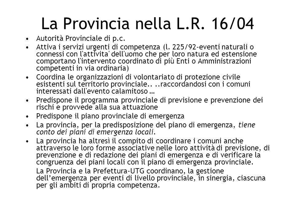 Autorità Provinciale di p.c. Attiva i servizi urgenti di competenza (l. 225/92-eventi naturali o connessi con l'attivita' dell'uomo che per loro natur