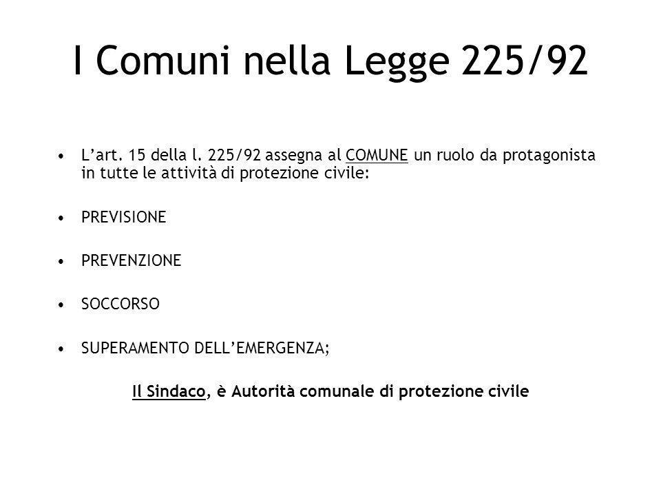 I Comuni nella Legge 225/92 Lart. 15 della l. 225/92 assegna al COMUNE un ruolo da protagonista in tutte le attività di protezione civile: PREVISIONE