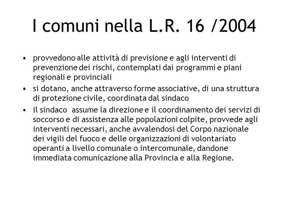 I comuni nella L.R. 16 /2004 provvedono alle attività di previsione e agli interventi di prevenzione dei rischi, contemplati dai programmi e piani reg