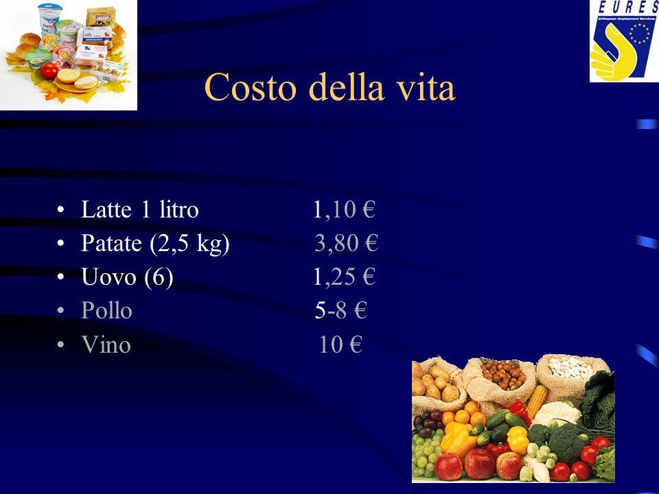 Costo della vita Latte 1 litro 1,10 Patate (2,5 kg) 3,80 Uovo (6) 1,25 Pollo 5-8 Vino 10