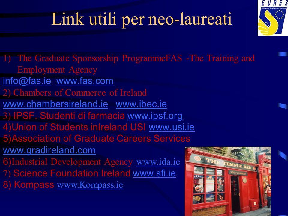 Link utili per neo-laureati 1)The Graduate Sponsorship ProgrammeFAS -The Training and Employment Agency info@fas.ieinfo@fas.ie www.fas.com www.fas.com
