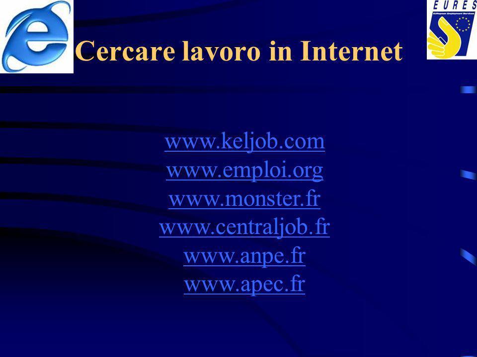 Cercare lavoro in Internet www.keljob.com www.emploi.org www.monster.fr www.centraljob.fr www.anpe.fr www.apec.fr