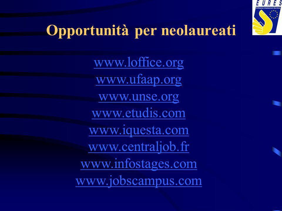 Opportunità per neolaureati www.loffice.org www.ufaap.org www.unse.org www.etudis.com www.iquesta.com www.centraljob.fr www.infostages.com www.jobscampus.com