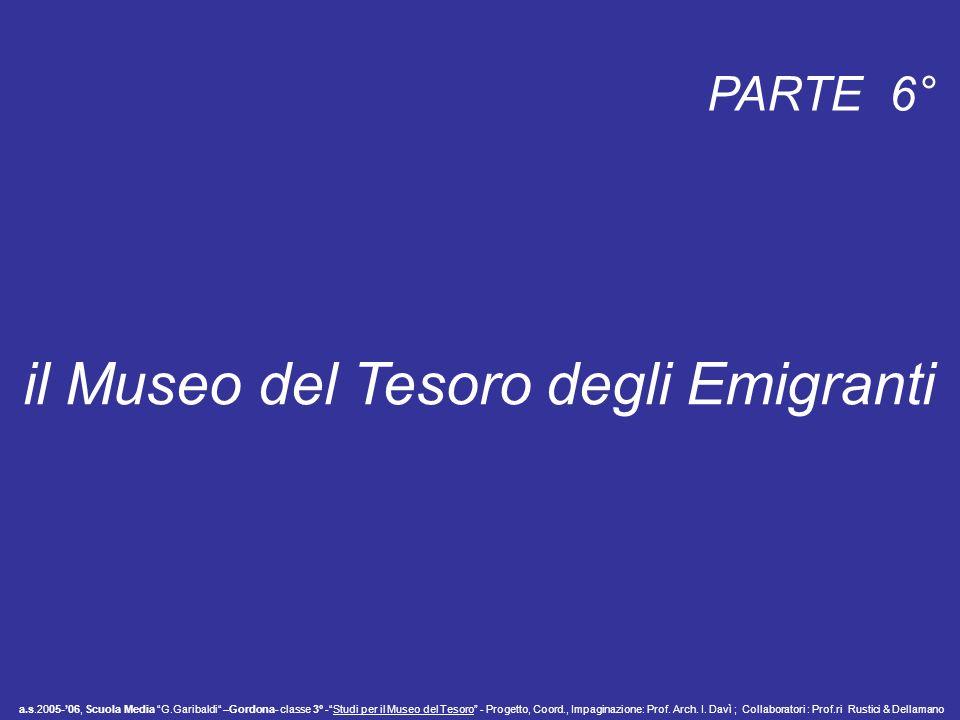 PARTE 6° il Museo del Tesoro degli Emigranti a.s.2005-06, Scuola Media G.Garibaldi –Gordona- classe 3° -Studi per il Museo del Tesoro - Progetto, Coor