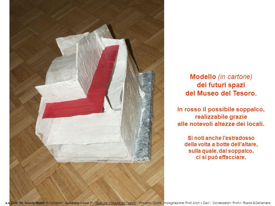 Modello (in cartone) dei futuri spazi del Museo del Tesoro. In rosso il possibile soppalco, realizzabile grazie alle notevoli altezze dei locali. Si n