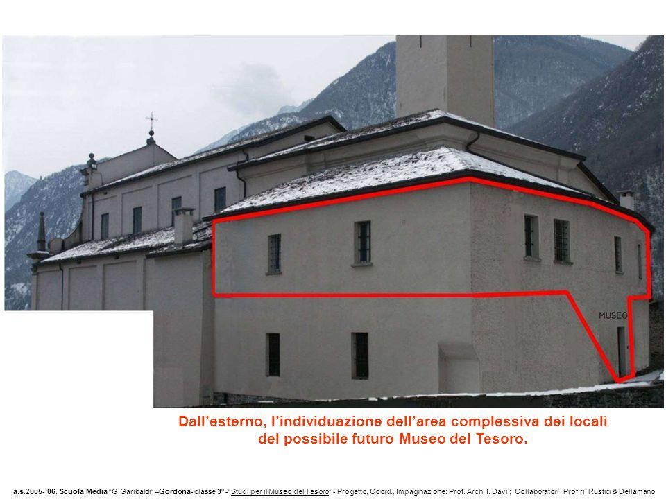 Dallesterno, lindividuazione dellarea complessiva dei locali del possibile futuro Museo del Tesoro. a.s.2005-06, Scuola Media G.Garibaldi –Gordona- cl