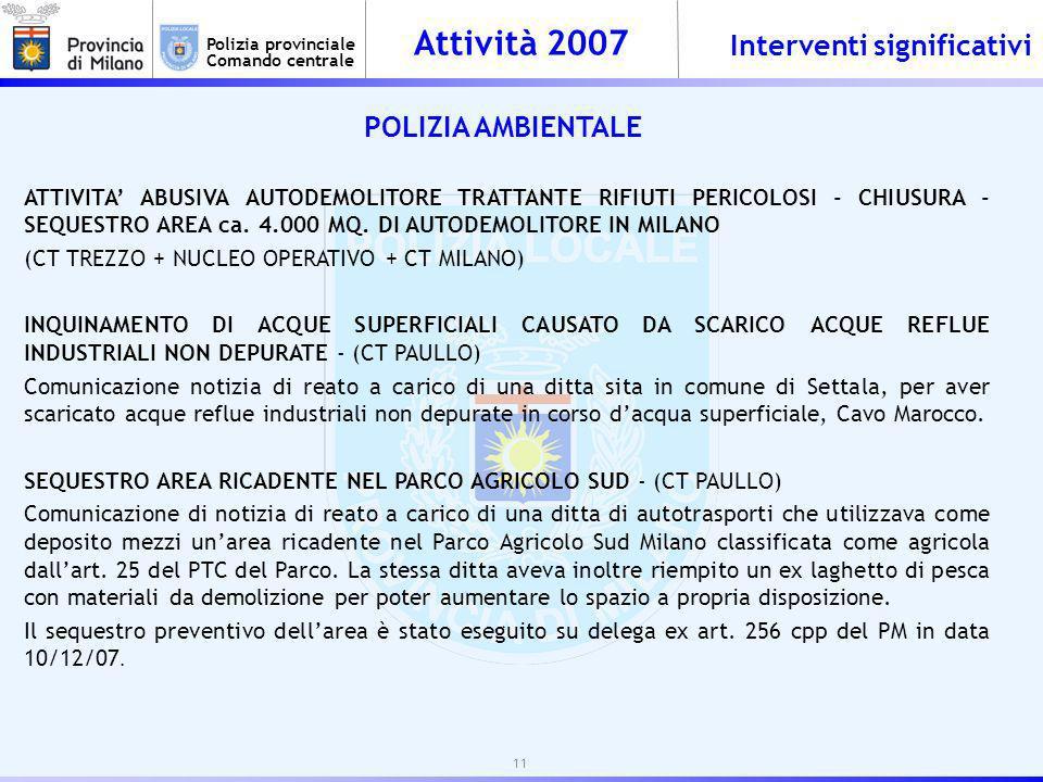Attività 2007 Polizia provinciale Comando centrale POLIZIA AMBIENTALE ATTIVITA ABUSIVA AUTODEMOLITORE TRATTANTE RIFIUTI PERICOLOSI - CHIUSURA - SEQUESTRO AREA ca.