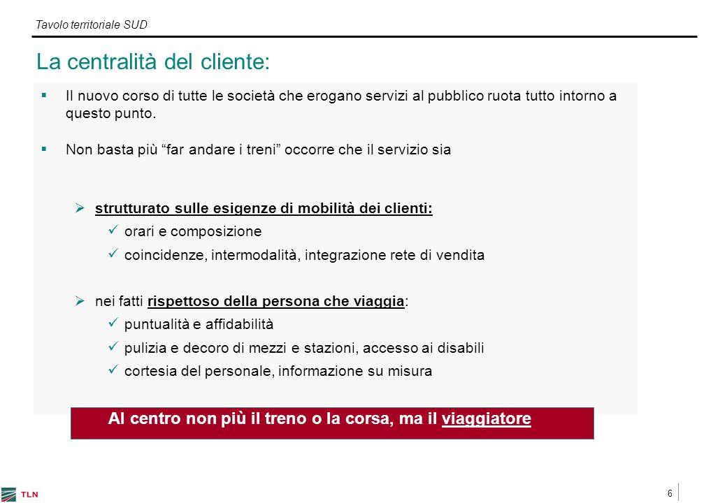 6 Tavolo territoriale SUD La centralità del cliente: Il nuovo corso di tutte le società che erogano servizi al pubblico ruota tutto intorno a questo punto.