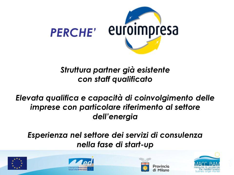PERCHE Struttura partner già esistente con staff qualificato Elevata qualifica e capacità di coinvolgimento delle imprese con particolare riferimento
