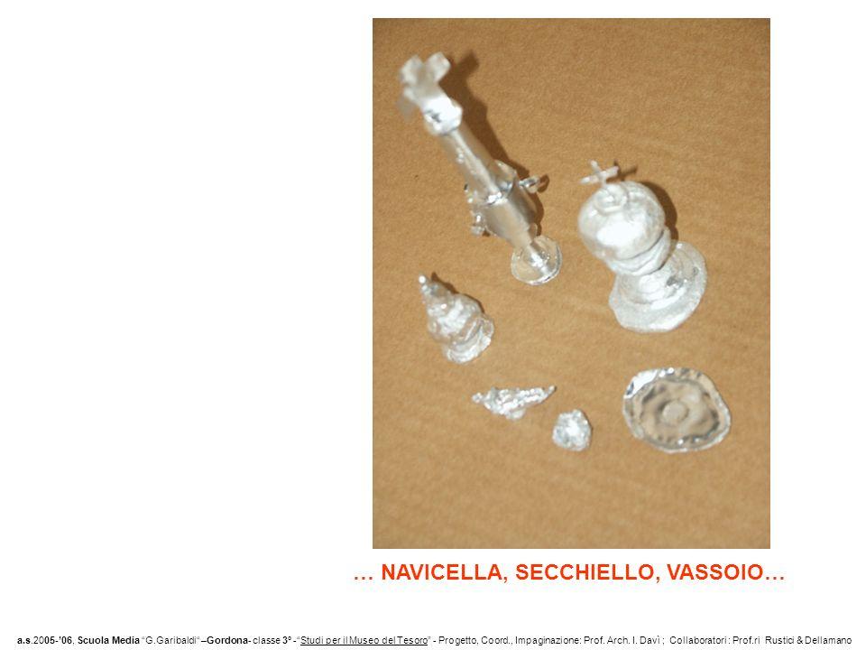 … NAVICELLA, SECCHIELLO, VASSOIO… a.s.2005-06, Scuola Media G.Garibaldi –Gordona- classe 3° -Studi per il Museo del Tesoro - Progetto, Coord., Impaginazione: Prof.
