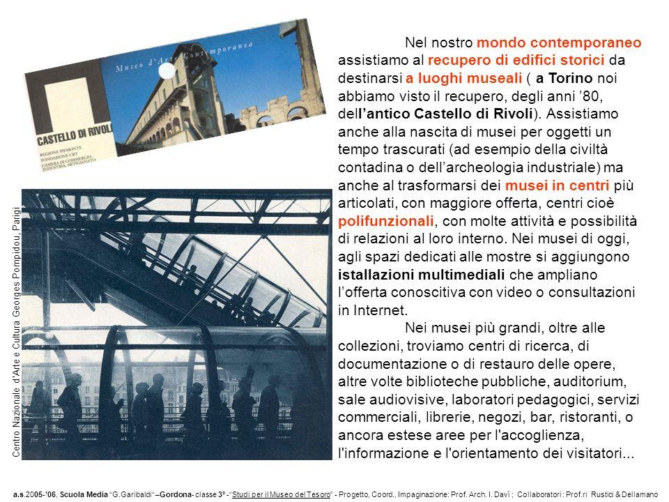 Nel nostro mondo contemporaneo assistiamo al recupero di edifici storici da destinarsi a luoghi museali ( a Torino noi abbiamo visto il recupero, degli anni 80, dellantico Castello di Rivoli).