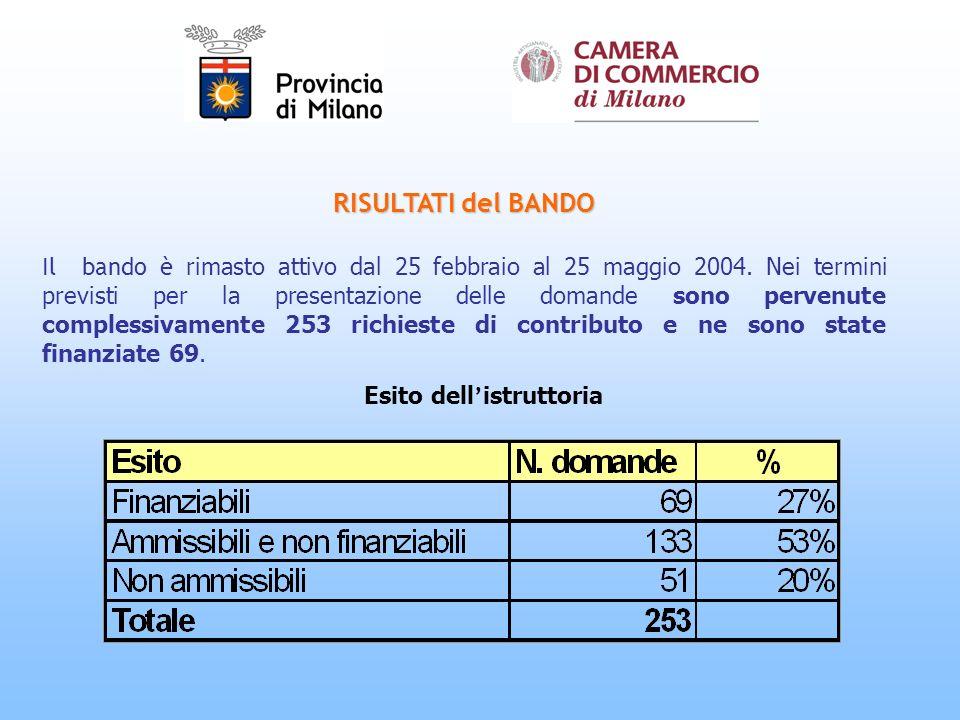 RISULTATI del BANDO Il bando è rimasto attivo dal 25 febbraio al 25 maggio 2004.