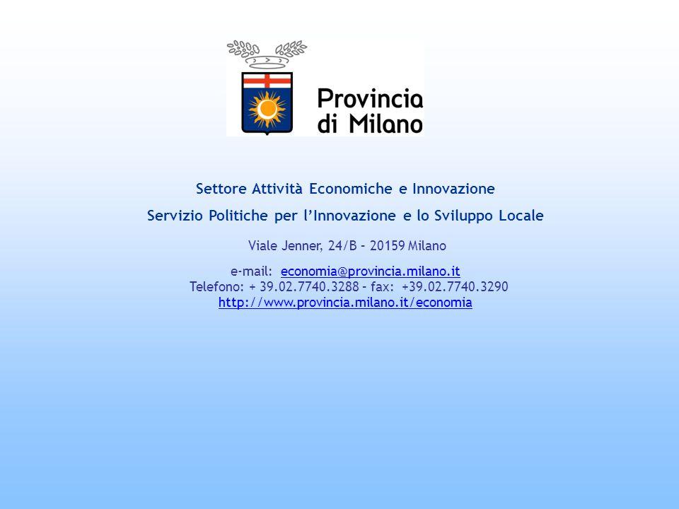 Settore Attività Economiche e Innovazione Servizio Politiche per lInnovazione e lo Sviluppo Locale Viale Jenner, 24/B – 20159 Milano e-mail: economia@provincia.milano.it Telefono: + 39.02.7740.3288 – fax: +39.02.7740.3290 http://www.provincia.milano.it/economia