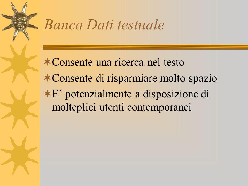 Banca Dati testuale Consente una ricerca nel testo Consente di risparmiare molto spazio E potenzialmente a disposizione di molteplici utenti contemporanei