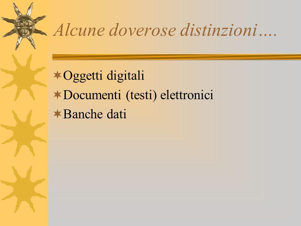 Alcune doverose distinzioni…. Oggetti digitali Documenti (testi) elettronici Banche dati
