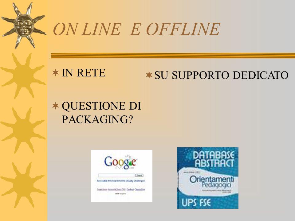 ON LINE E OFFLINE IN RETE QUESTIONE DI PACKAGING SU SUPPORTO DEDICATO