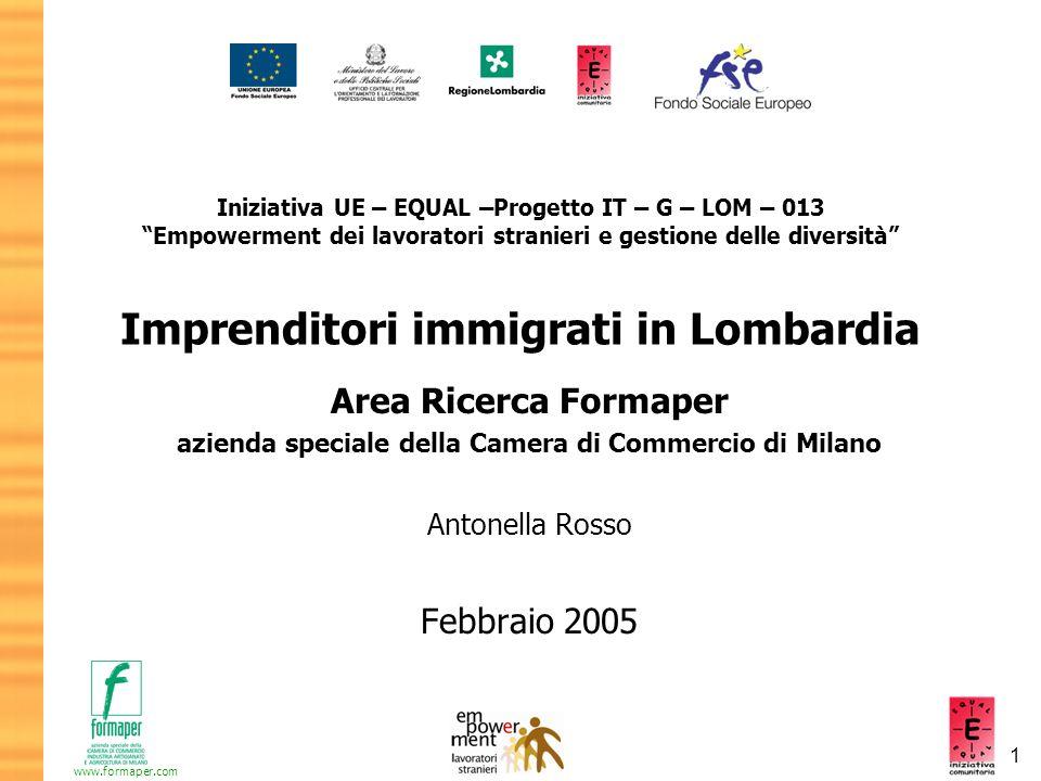 2 www.formaper.com Attività di ricerca quantitativa e obiettivi Indagine basata sui dati dei Registri Imprese delle Camere di Commercio lombarde forniti da Infocamere Quante imprese gestite da immigrati.