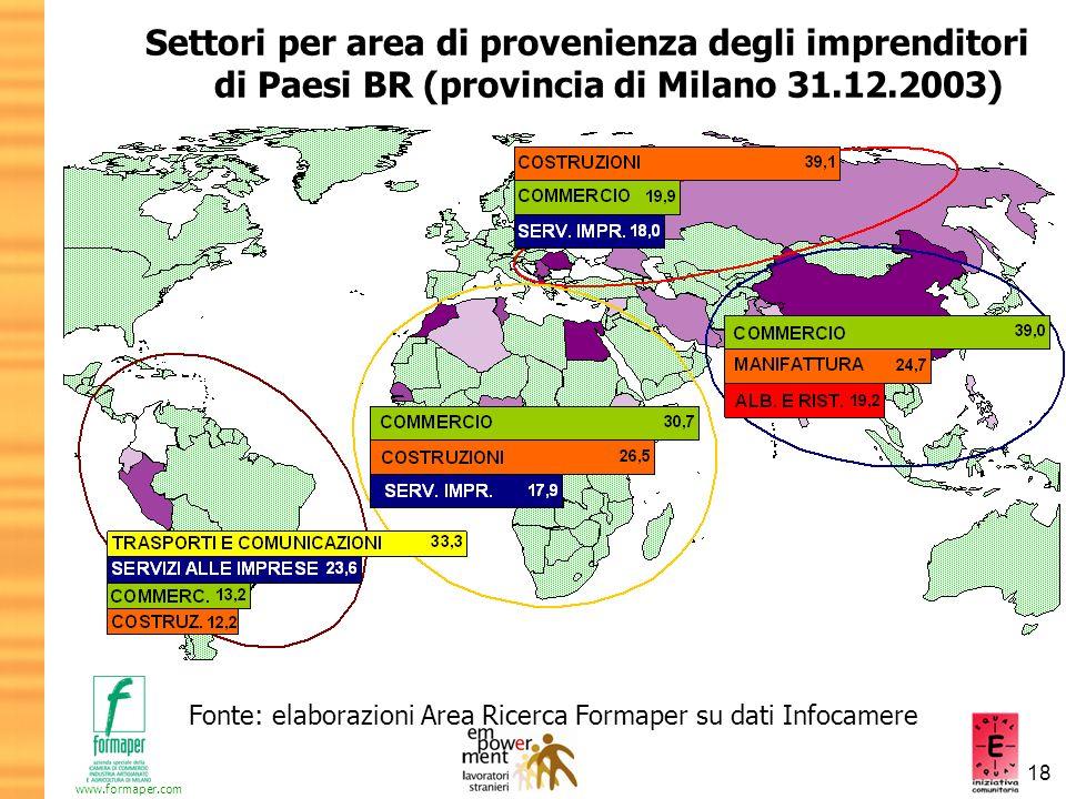 18 www.formaper.com Settori per area di provenienza degli imprenditori di Paesi BR (provincia di Milano 31.12.2003) Fonte: elaborazioni Area Ricerca F