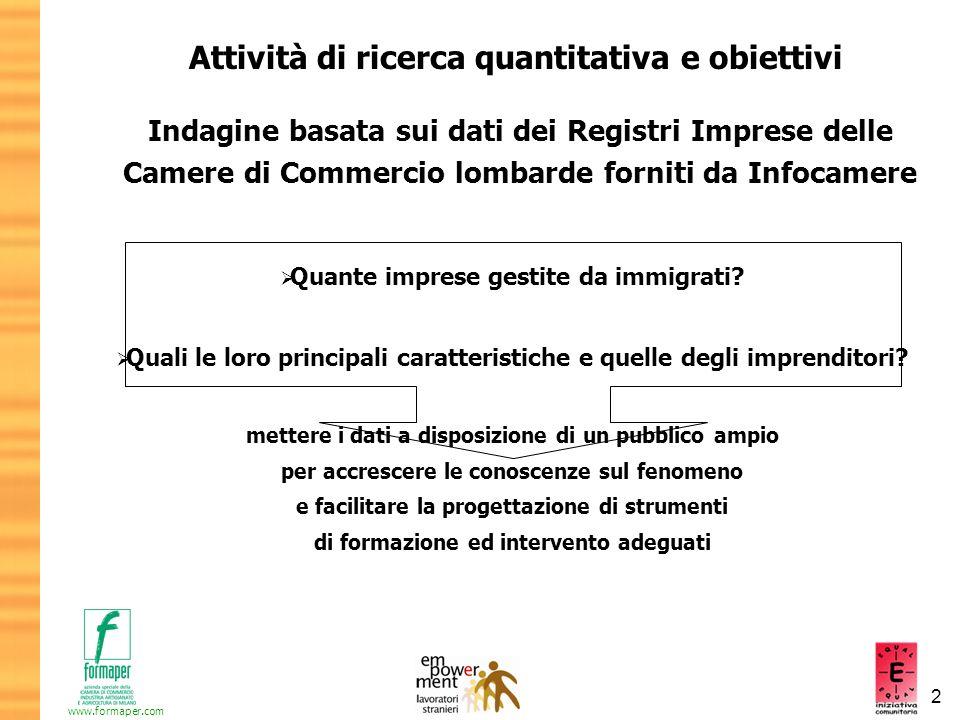 2 www.formaper.com Attività di ricerca quantitativa e obiettivi Indagine basata sui dati dei Registri Imprese delle Camere di Commercio lombarde forni